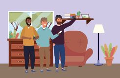 Millennial group taking selfie indoors background. Millennial group using smartphone taking selfie posing together smiling happy sweater beard afro indoors room vector illustration