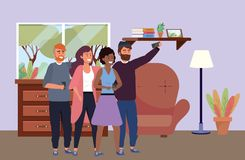 Millennial group taking selfie indoors background. Millennial group using smartphone taking selfie posing together smiling happy sweater beard afro redhead royalty free illustration