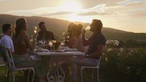 Millennial grupowy cieszyć się przy obiadowym przyjęciem zdjęcie wideo