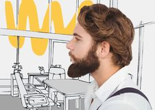 Millennial man with beard against grey and yellow hand drawn office Royalty Free Stock Image