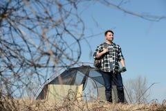 Millennial Man Camping Stock Image