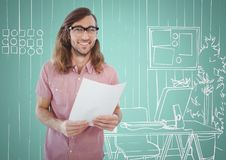 Millennial man holding paper against aqua and white hand drawn office. Digital composite of Millennial man holding paper against aqua and white hand drawn office Stock Images