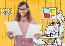 Millennial man with papers against yellow hand drawn office Royalty Free Stock Images
