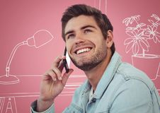 Millennial man on phones against pink and white hand drawn office. Digital composite of Millennial man on phones against pink and white hand drawn office stock photo