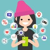 Millennial spożywa online zawartość na urządzeniu przenośnym ilustracji