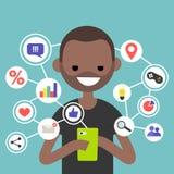 Millennial spożywa online zawartość na urządzeniu przenośnym, mieszkaniu/redaguje royalty ilustracja