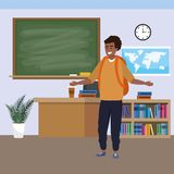 Millennial student indoors classroom. Millennial student afro man smiling wearing backpack indoors classroom background with blackboard map clock and bookstand royalty free illustration