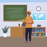 Millennial student indoors classroom. Millennial student afro man wearing hat using smartphone indoors classroom background with blackboard map clock and stock illustration
