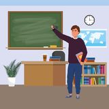 Millennial student indoors classroom. Millennial student man holding book using smartphone indoors classroom background with blackboard map clock and bookstand stock illustration