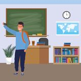 Millennial student indoors classroom. Millennial student man wearing backpack using smartphone indoors classroom background with blackboard map clock and vector illustration