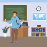 Millennial student indoors classroom. Millennial student man wearing hoodie using smartphone indoors classroom background with blackboard map clock and bookstand royalty free illustration