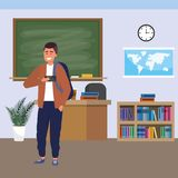 Millennial student indoors classroom. Millennial student man wearing jacket and backpack using smartphone indoors classroom background with blackboard map clock royalty free illustration