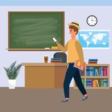 Millennial student indoors classroom. Millennial student brunette man wearing hat using smartphone indoors classroom background with blackboard map clock and vector illustration