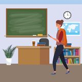 Millennial student indoors classroom. Millennial student brunette woman wearing backpack using smartphone indoors classroom background with blackboard map clock royalty free illustration