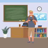 Millennial student indoors classroom. Millennial student using blonde man wearing shorts smartphone indoors classroom background with blackboard map clock and stock illustration