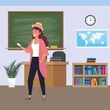 Millennial student indoors classroom. Millennial student woman with purple dyed hair using smartphone indoors classroom background with blackboard map clock and stock illustration