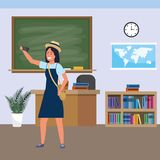 Millennial student indoors classroom. Millennial student woman wearing dress and hat using smartphone indoors classroom background with blackboard map clock and vector illustration