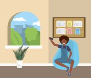 Millennial student sitting on waiting room royalty free illustration
