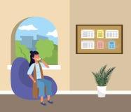 Millennial student sitting on waiting room vector illustration