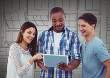 Millennial team with tablet against grey hand drawn windows Royalty Free Stock Images
