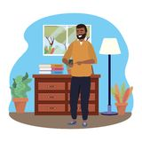 Millennial using smartphone indoors background texting. Millennial using smartphone indoors room drawers window browsing social media texting background bearded stock illustration