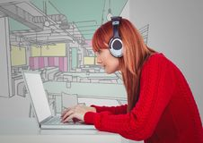 Millennial woman at desk with computer and headphones against hand drawn office