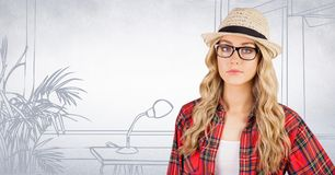 Millennial Woman In Fedora Against White Hand Drawn Office Stock Image