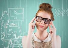 Millennial woman thinking against aqua and white hand drawn office