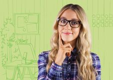 Millennial Woman Thinking Against Green Hand Drawn Office Stock Photography