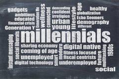 Millennials在黑板的词云彩 免版税库存图片