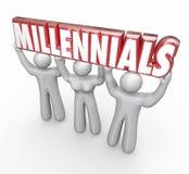 Millennials 3 молодые люди поднимая маркетинг молодости слова иллюстрация штока