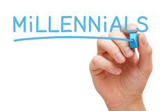 Millennials Blue Marker. Hand writing Millennials with blue marker on transparent wipe board Royalty Free Stock Photos