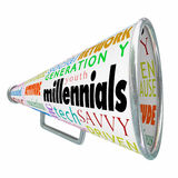 Millennials Bullhorn Megaphone Marketing Advertising Generation. Millennials word on a bullhorn or megaphone to illustrate selling, promoting, advertising or Stock Image