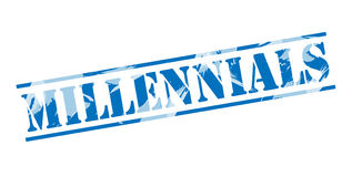 Millennials blue stamp. Millennials buy blue stamp isolated on white background Royalty Free Stock Photography