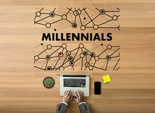 MILLENNIALS CONCEPT Business team hands at work with financial r stock photography
