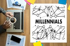 MILLENNIALS CONCEPT Business team hands at work with financial r stock image