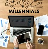 MILLENNIALS CONCEPT Business team hands at work with financial r stock photos