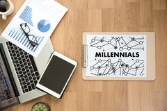 MILLENNIALS CONCEPT Business team hands at work with financial r royalty free stock images