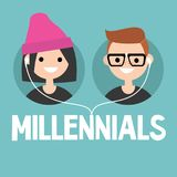 Millennials conceptual sign: young boy and girl sharing one pair. Of earphones / editable flat vector illustration Stock Image