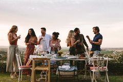 Millennials enjoying dinner party outdoors. Group of friends having drinks at party in garden. Millennials enjoying dinner party outdoors stock image