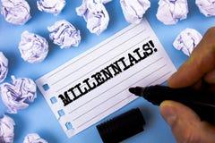 Millennials för ordhandstiltext Motivational appell Affärsidé för utveckling Y som uthärdas från 80-tal till skriftlig 2000s av m Royaltyfri Fotografi