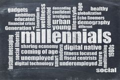 Millennials word cloud on blackboard. Millennials generation word cloud on a vintage blackboard - demography concept Royalty Free Stock Image