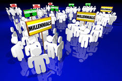 Millennials Generation X Baby Boomers People Signs Royalty Free Stock Images