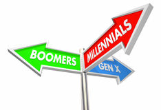 Millennials Geration X Baby Boomers Road Signs. 3d Illustration Royalty Free Stock Photo