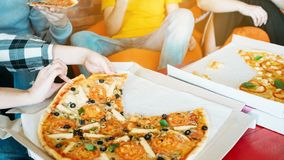 Millennials lifestyle pizza fast food fans stock images