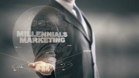 Millennials marketing z holograma biznesmena pojęciem royalty ilustracja