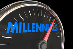 Millennials Speedometer Young Demographic Group. 3d Illustration Stock Photo