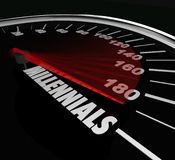Millennials Speedometer Youth Age Speed Automotive Transportatio. Millennials word on a speedometer to illustrate youth, and young age of people in generation Y Royalty Free Stock Images
