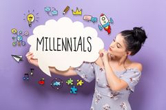 Millennials with woman holding a speech bubble. Millennials with young woman holding a speech bubble Stock Photo
