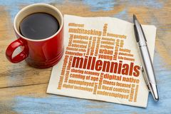 Millennials word cloud on napkin. Millennials generation word cloud on a napkin a cup of coffee - demography concept Stock Photography